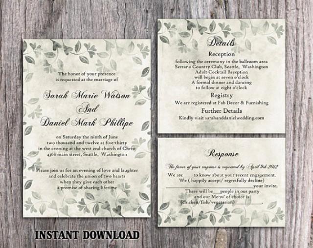 DIY Rustic Wedding Invitation Template Set Editable Word File Download  Printable Vintage Invitation Silver Invitation Leaf Floral Invitation  #2661502   ...