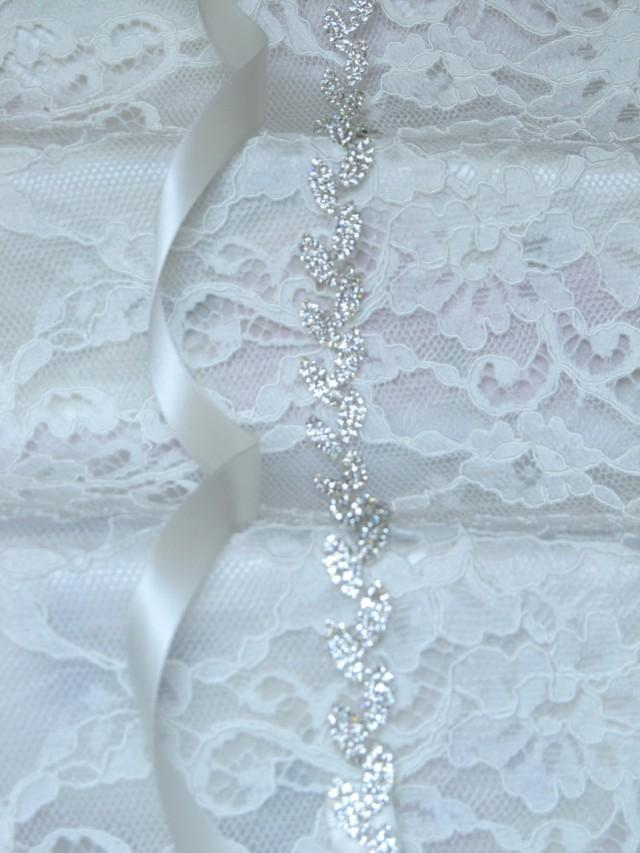 Silver Leaves Crystal Rhinestone Bridal Sash,Wedding Sash,Bridal ...