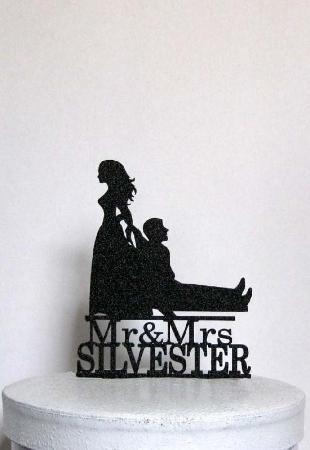Personalized Funny Wedding Cake Topper Bride Dragging Groom With