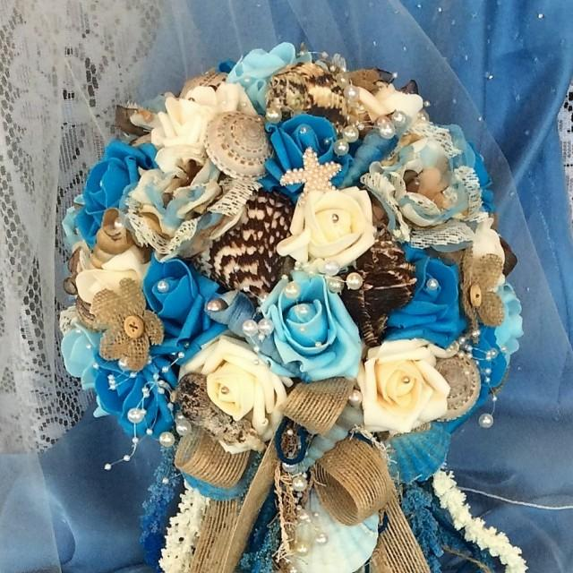 Doing Your Own Flowers For A Wedding: Rustic Beach Wedding Cascade Bridal Flowers Bride's