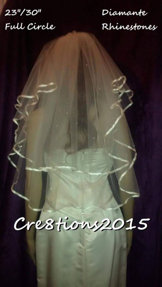 Ivory Wedding Veil Satin Edged With Diamante Rhinestones 23 And 30 Inch Elbow Length Full Circle Style FREE UK POSTAGE 2661979