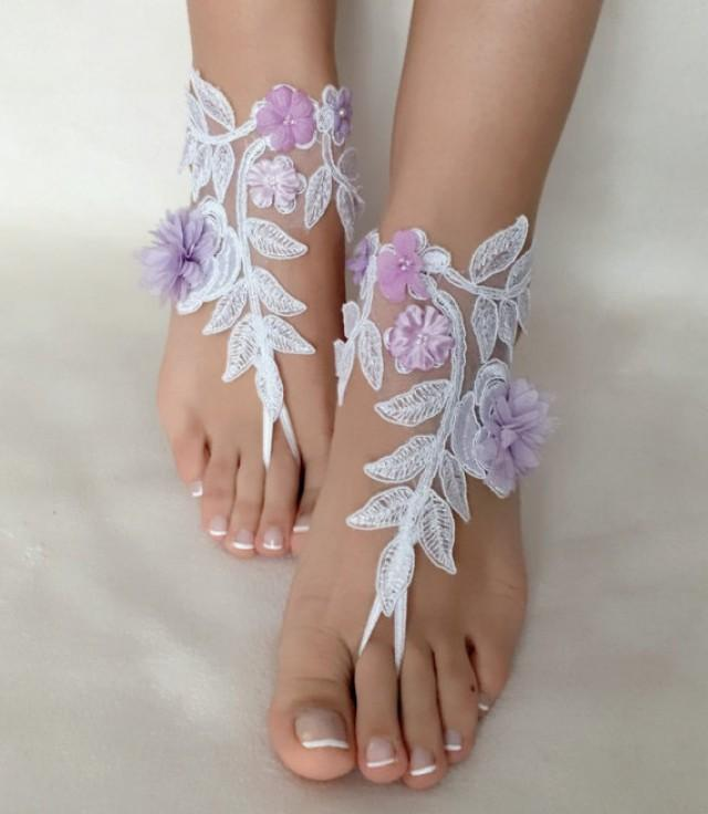 Bridesmaid Gifts Beach Wedding: White Lilac Flowers Lace Barefoot Sandals, FREE SHIP