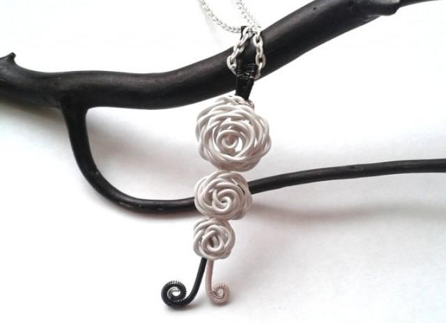 Roses Necklace Wire Wrapped White Roses Pendant Handmade Nature