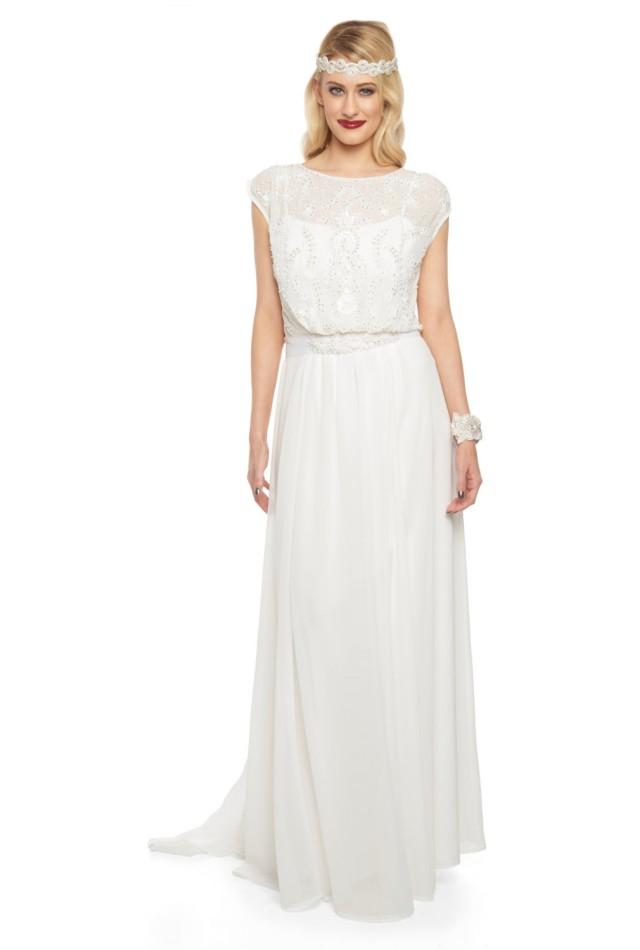 Roselyn Off White Wedding Prom Maxi Wedding Dress Vintage 1920s ...