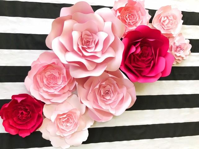 kate spade inspired paper flower wall decor large paper. Black Bedroom Furniture Sets. Home Design Ideas