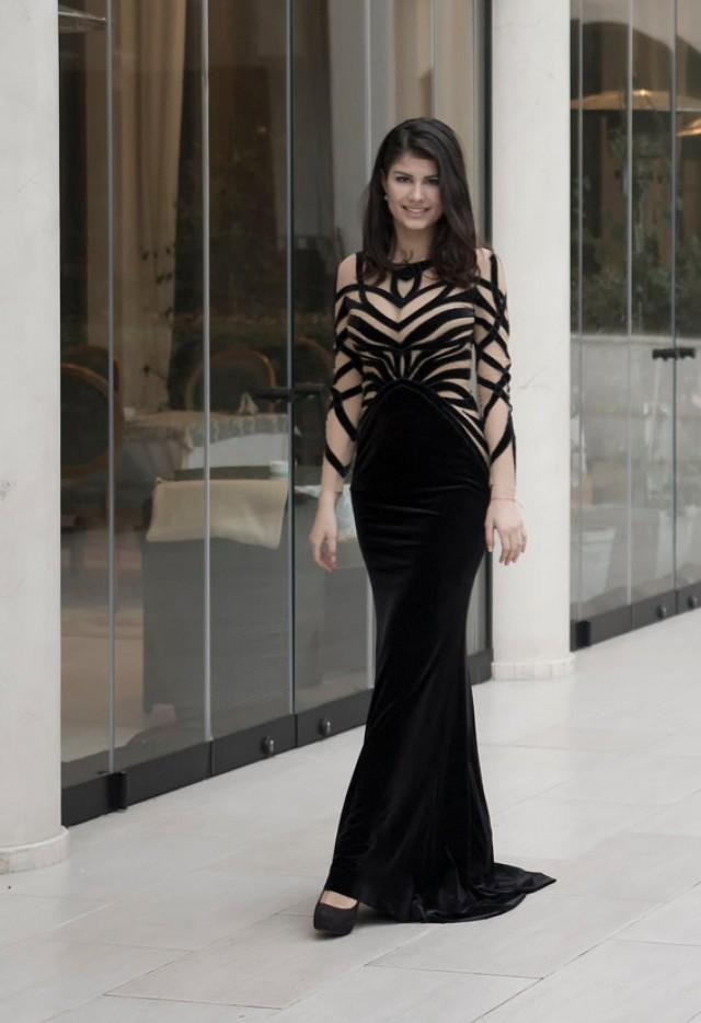 Black Velvet Evening Dress, Long Formal Dress From Plush, Black ...