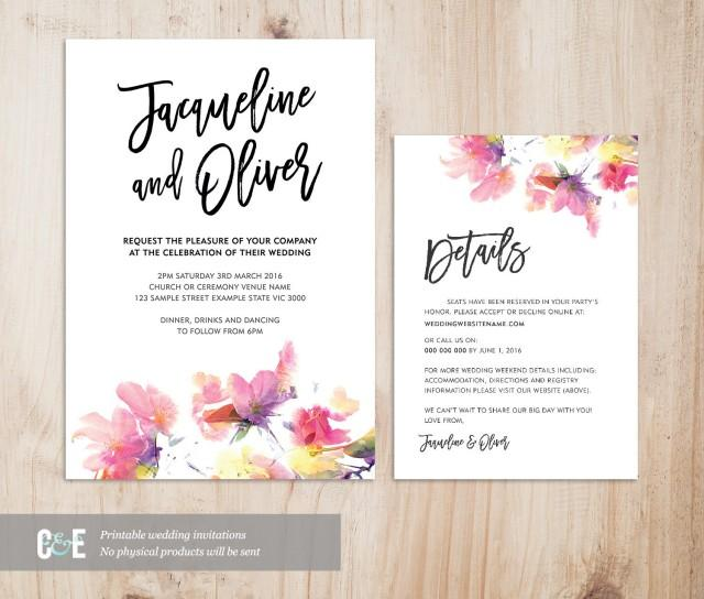 Invitation Wedding Cards Sample: Multicolour Watercolor Wedding Invitation Details Card Set