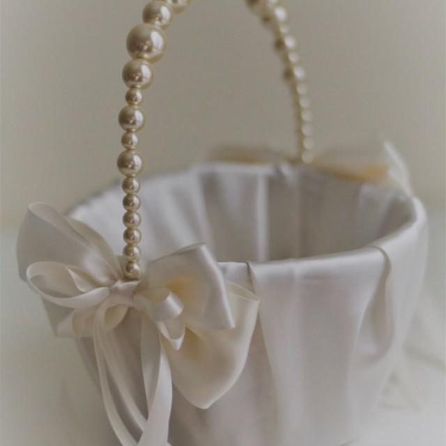 Ivory Pearl Flower Girl Basket Ivory Wedding Baskets With ...