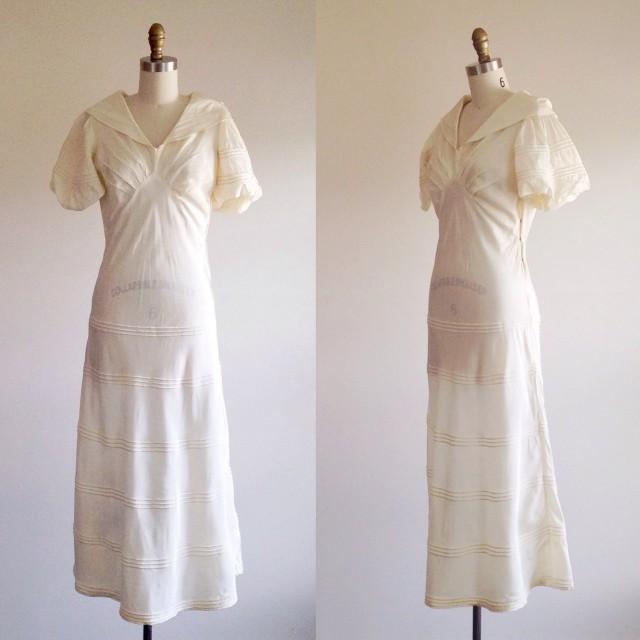 Simple Wedding Dress- Ivory Wedding Dress-1930s Wedding Dress ...