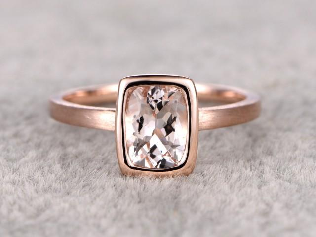 6x8mm Morganite Solitaire Engagement Ring Rose Gold Plain