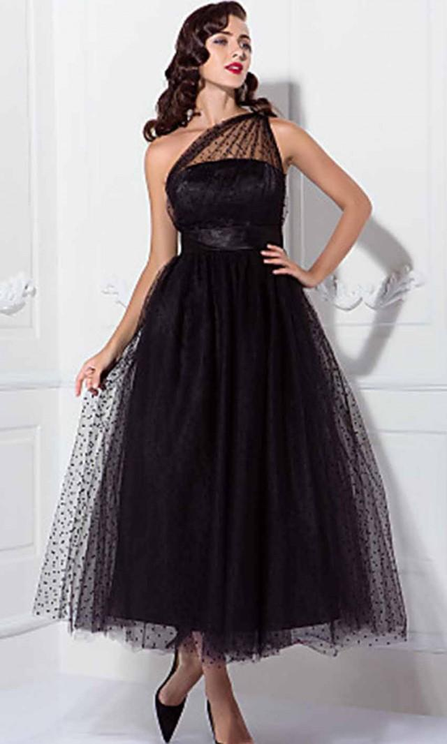 1950s Celebrity Tea Length Black Prom Dresses Ksp445