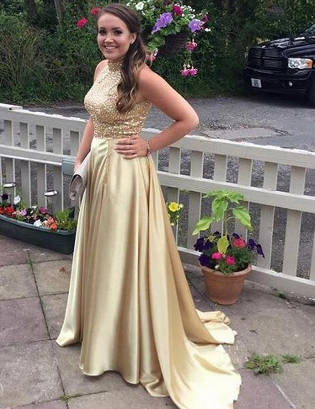 78d76a298d Decent Two Piece High Neck Sleeveless Sweep Train Gold Prom Dress With  Beading  2666236 - Weddbook