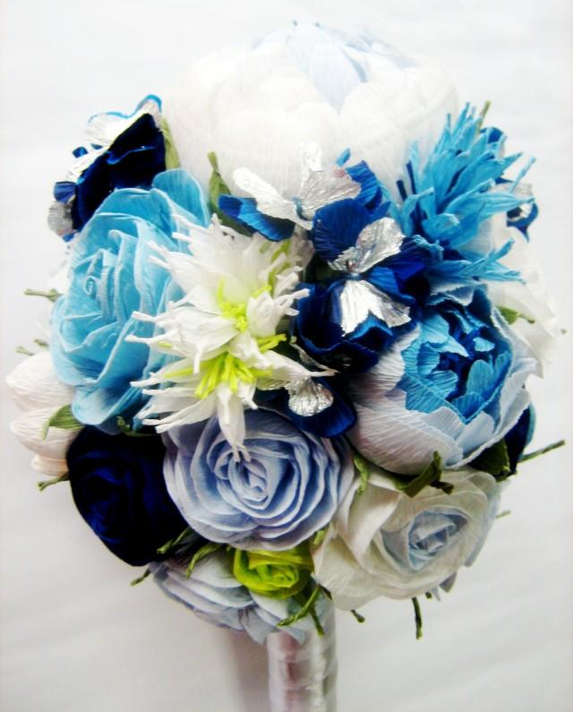 Wedding Bridal Bridesmaids Bouquet White Royal Navy Blue Turquoise Teal Paper Flowers Rose Peony Aqua Flower Beach 2666288 Weddbook