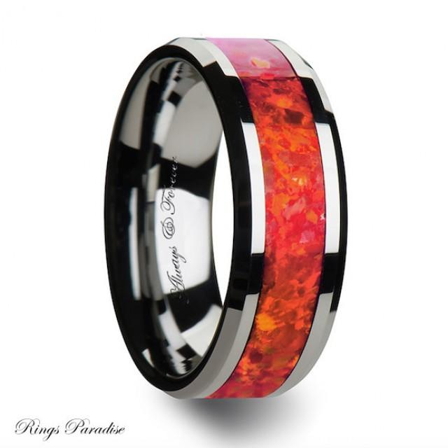 Red Opal Tungsten Band His Her Promise Rings Opal Inlay