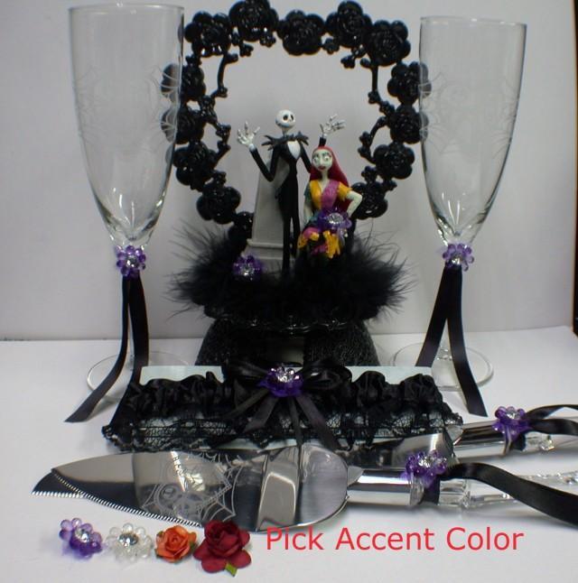 Nightmare Before Christmas Wedding Lot Cake Topper Glasses Knife
