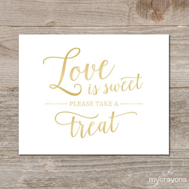 Gold Love Is Sweet Sign Gradient Gold Wedding Sign