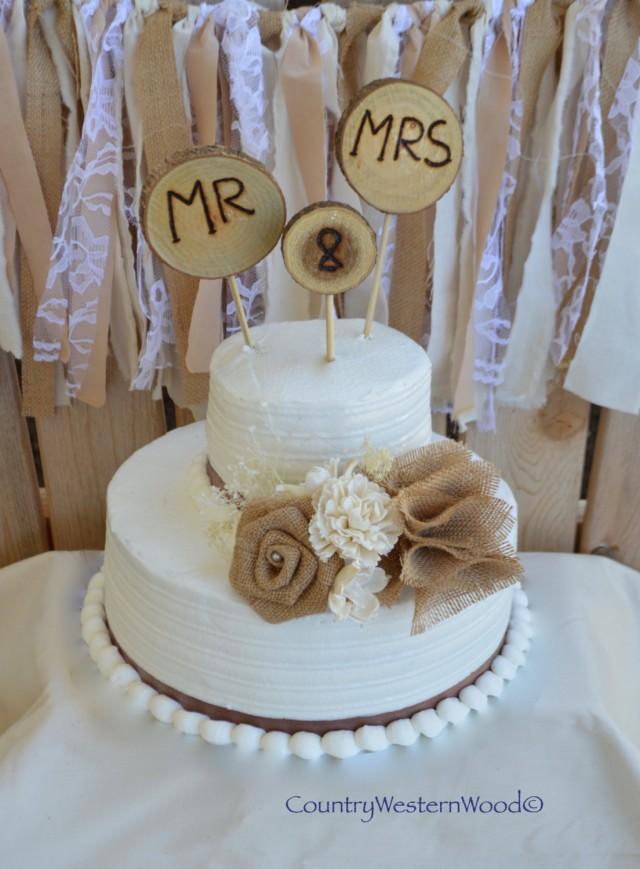 Rustic Cake Topper Wedding Burlap Wood Mr Mrs 2667402