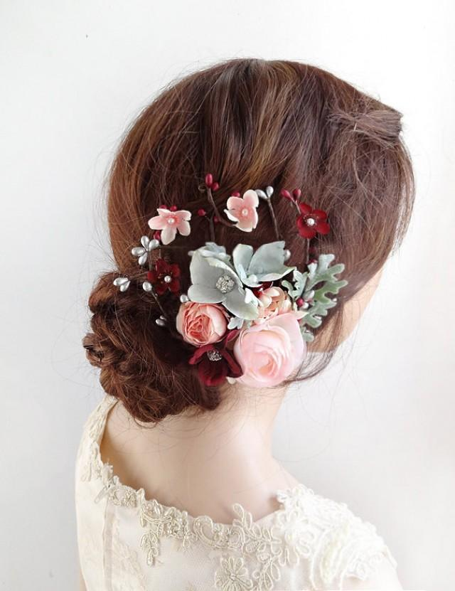 Rustic flower headpiece Blush pink flower comb Bridal wedding blush comb Bridal headpiece Bridesmaid headpiece Hair comb  Floral accessories