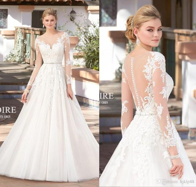 Perfect 2017 New Arrival A Line Wedding Dresses Beaded