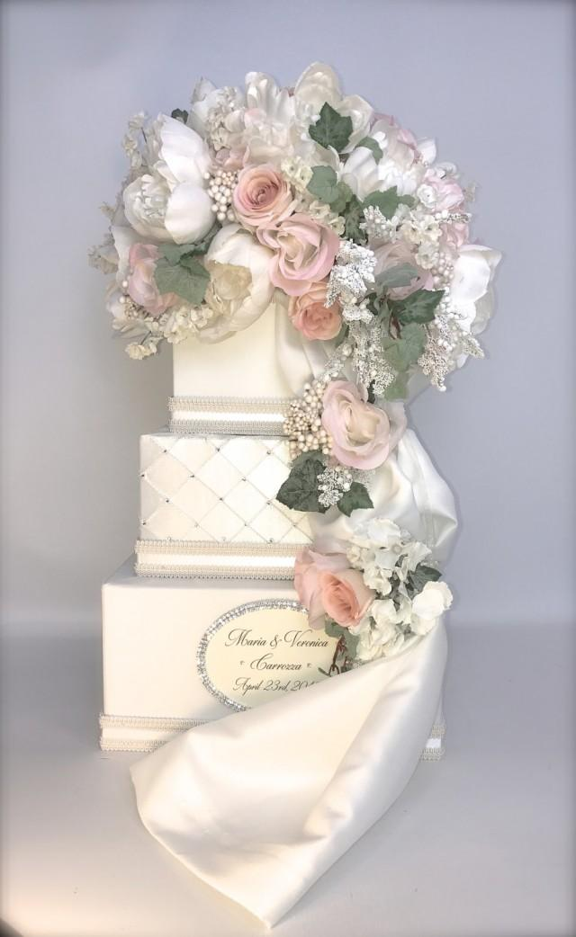 personalized wedding card box secured lock peach pink