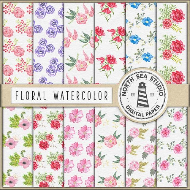 Digital Watercolor Paper Watercolor Flower Papers Colorful Floral Patterns Hand Painted Flowers Coupon Code Buy5for8 2669835 Weddbook