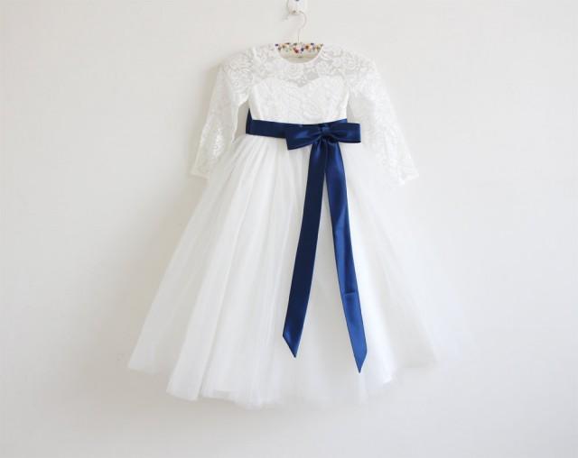7c98454dc3e Light Ivory Long Sleeves Flower Girl Dress Ivory Baby Girls Dress Lace  Tulle Flower Girl Dress With Navy Sash Bows Floor-length  2669841 - Weddbook