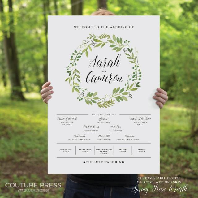 Printable Wedding Welcome Sign Watercolor Rustic