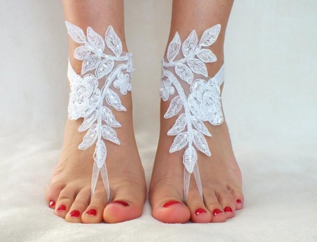 Beach Wedding Bridesmaid Gifts: White Lace Barefoot Sandals, FREE SHIP, Beach Wedding