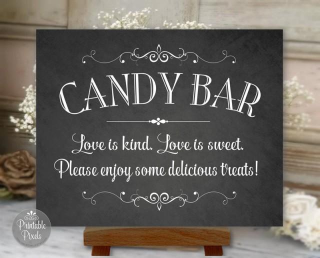 candy bar sign chalkboard printable wedding  love is kind