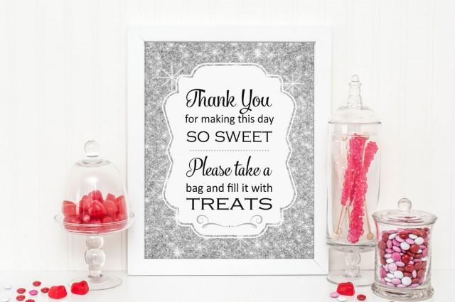 Silver Sparkle Candy Buffet Sign Printable Download