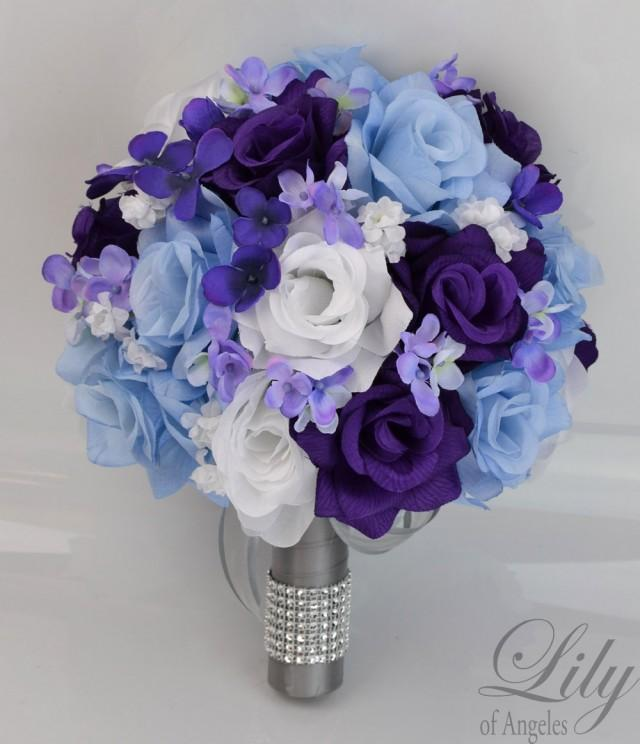 Purple And White Wedding Flower Bouquets: 17 Piece Package Bridal Wedding Bouquets Silk Flowers