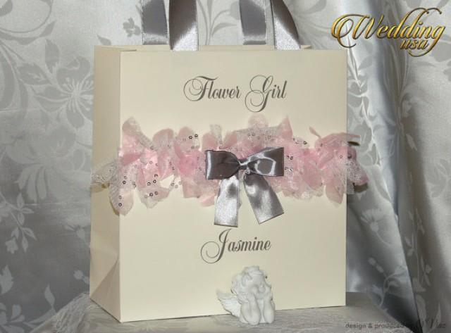 Wedding Gift Paper: Silver Rose & Ivory Custom Bridesmaids' Gift Bag