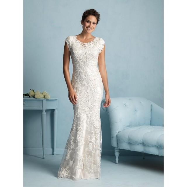 Craziest Wedding Dresses Ever Worn: Allure Modest M536 Beaded Lace Sheath Wedding Dress