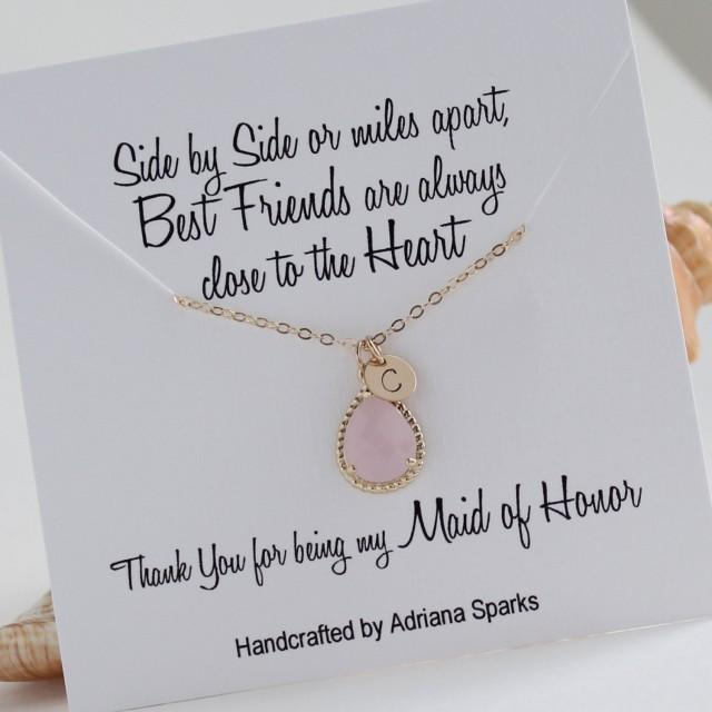 Personalized Maid Of Honor Gift, Gold & Pink Initial