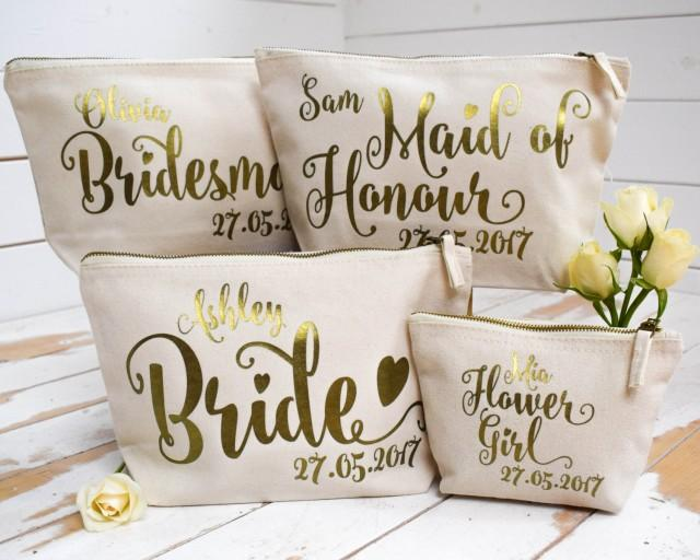 Gifts For Bride On Wedding Day From Bridesmaid: Personalised Bridal Party Gift Make Up Bag