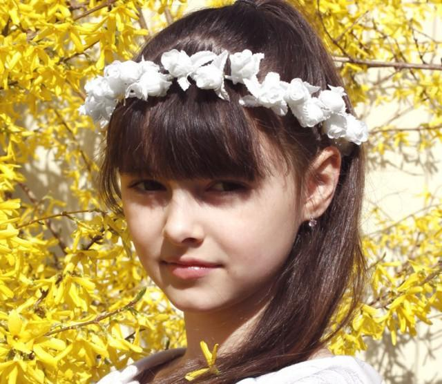 Details about  /Girl/'s White Flower Crown Headband Dandelion Floral Winter Hair Wreath Halo