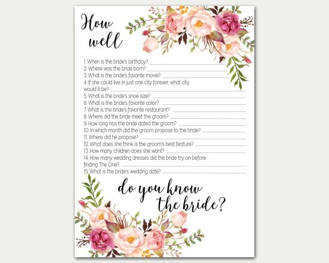 How well do you know the bride bridal shower game bridal for Bridal shower games that aren t cheesy