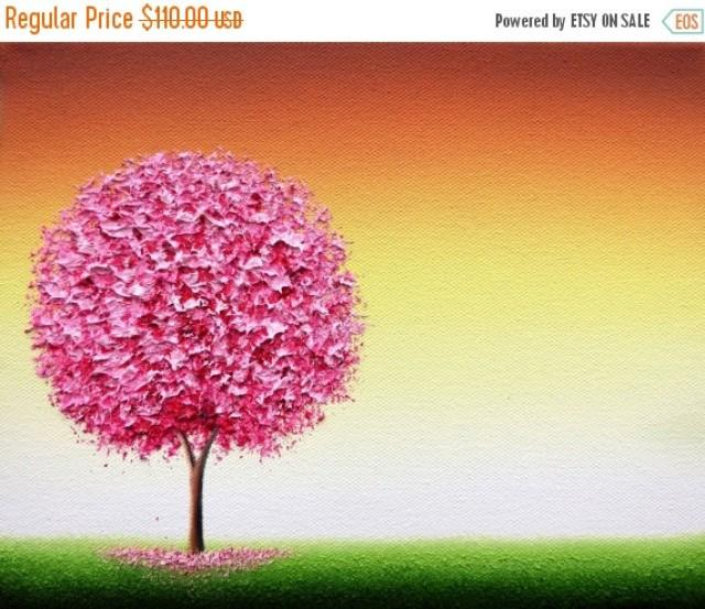 Cherry Blossom Tree Painting, ORIGINAL Oil Painting, Textured Spring ...