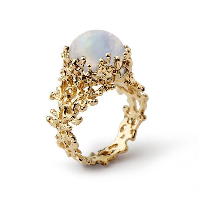 Coral Rainbow Moonstone Ring Gold Moonstone Ring 14k