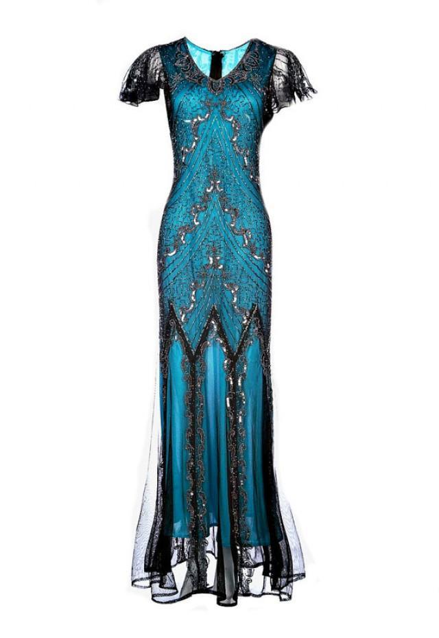 Evelyn Blue Beaded Flapper Dress, 20s Great Gatsby Dress ...