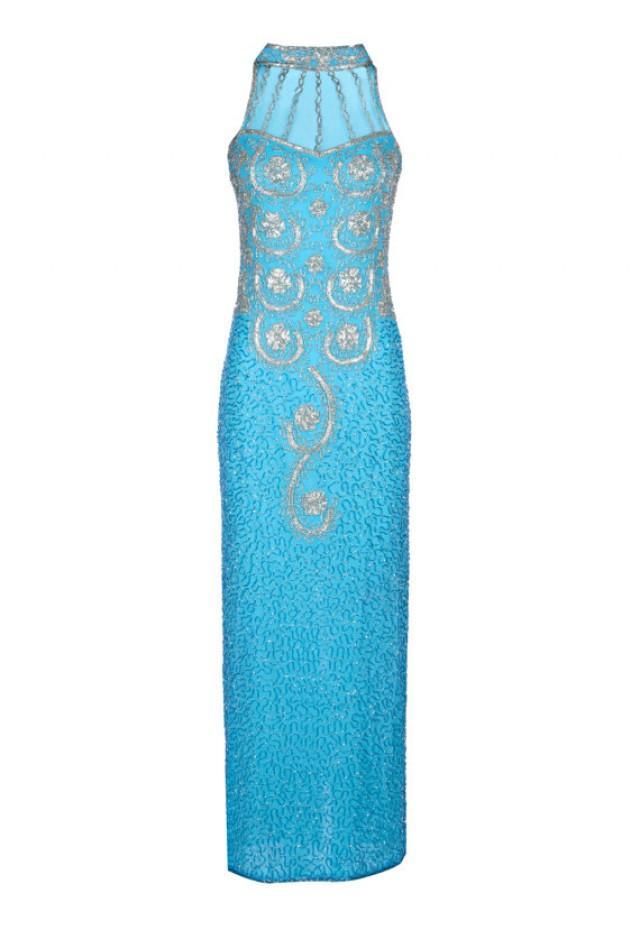 Vita 1920 39 s great gatsby style dress art deco blue dress for Maxi dress for wedding reception