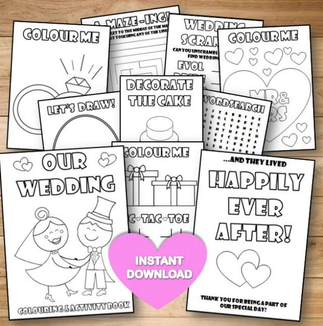 kids wedding colouring activity book instant download pdf reception gamecolouring pagesprintable colouring activity english spelling 2674956