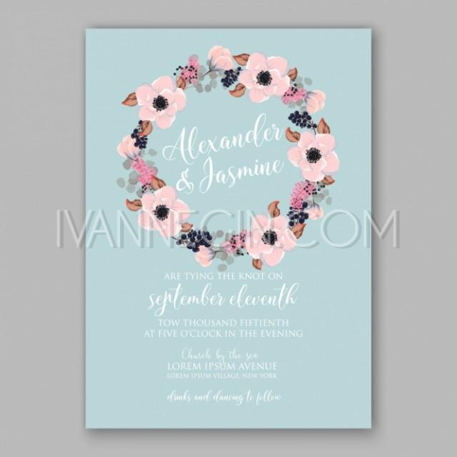 Anemone Wedding Invitation Card Printable Template Unique