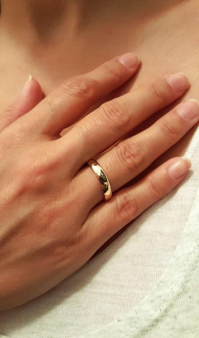 14k Solid Gold Wedding Engagement Ring, 14k Gold His And