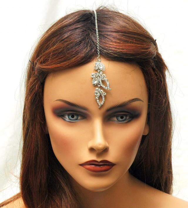 Free Shipping Tikka Headpiece Crystal Hair Chain Prom Bridal