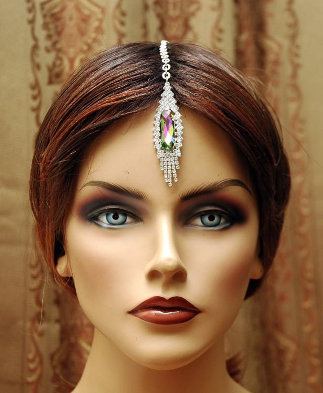 Indian Wedding Headdress: FREE SHIPPING Maang Tikka Headpiece, Hair Jewelry Bridal