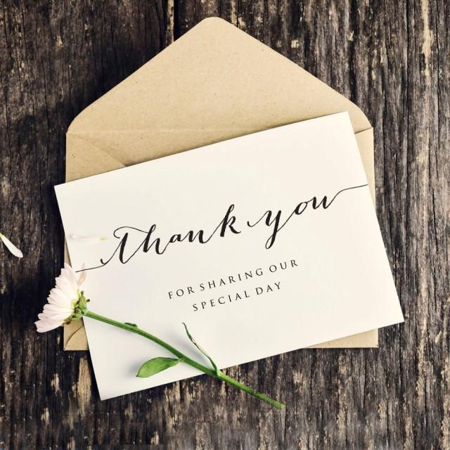 Thank You Wedding Card Template, Personalized Wedding Card