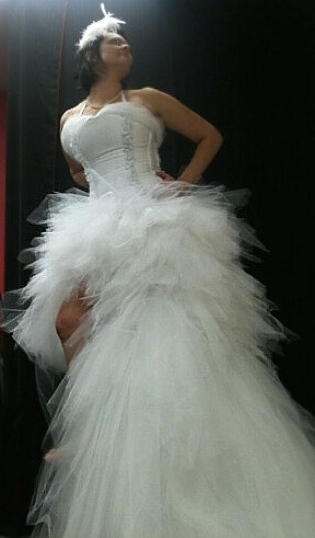 Peacock Or Mermaid Tutu Corset Wedding Gown Short In Front High Low 2677493