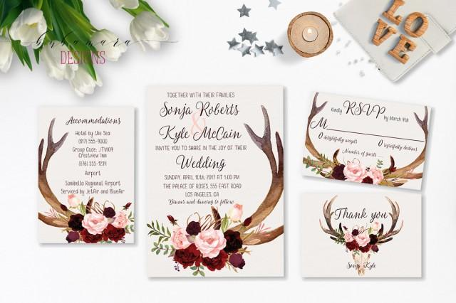picture about Printable Deer Antlers called Deer Antlers Burgundy Printable Marriage Invitation Suite