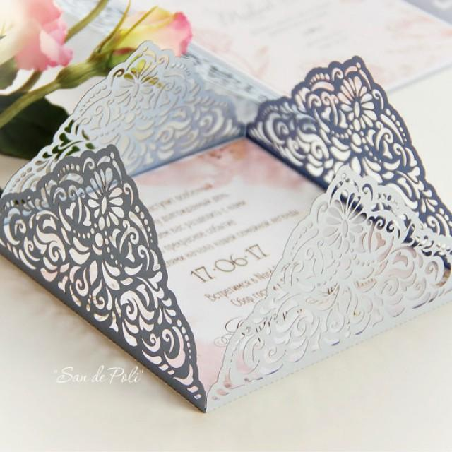 Wedding Invitation Card Template Four-fold Filigree ...